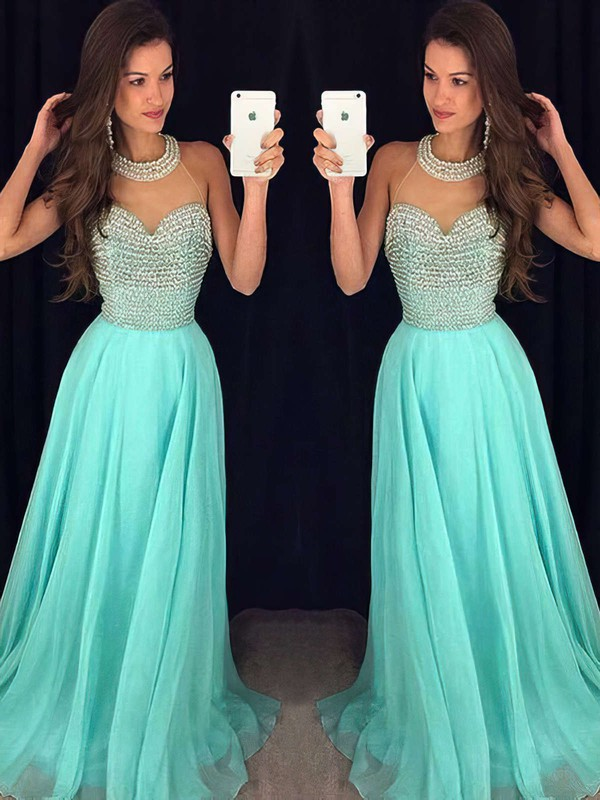 A-line Scoop Neck Sweep Train Chiffon Tulle Prom Dresses with Pearl Detailing #Favs020102441