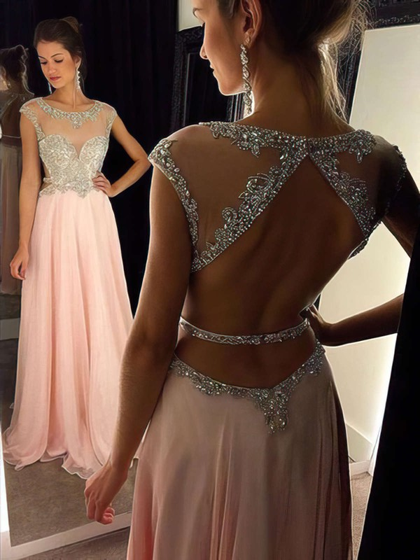 A-line Scoop Neck Floor-length Chiffon Prom Dresses with Beading #Favs020102446