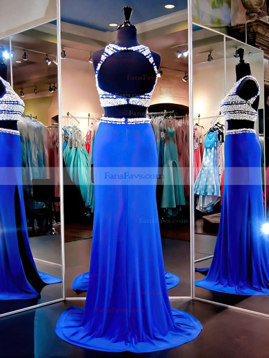 Sheath/Column Scoop Neck Sweep Train Chiffon Tulle Prom Dresses with Split Front #Favs020102481