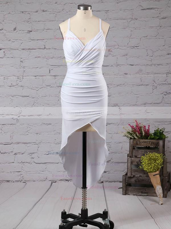 Sheath/Column V-neck Jersey Asymmetrical Ruffles Hot High Low Prom Dresses #Favs020103524