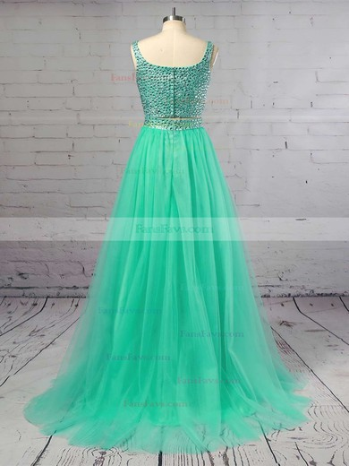 Princess Square Neckline Tulle Sweep Train Crystal Detailing Prom Dresses #Favs020103321