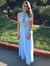 A-line Scoop Neck Chiffon Ankle-length Appliques Lace Prom Dresses #Favs020102693