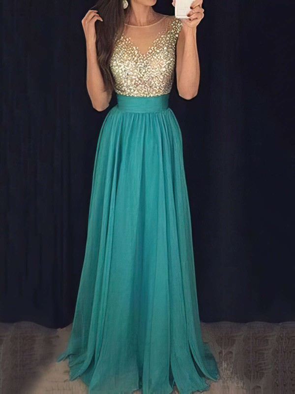 A-line Scoop Neck Floor-length Chiffon Tulle Prom Dresses with Beading Ruffle #Favs020103434