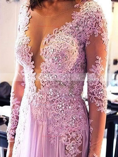 A-line Scoop Neck Chiffon Sweep Train Appliques Lace Prom Dresses #Favs020103641