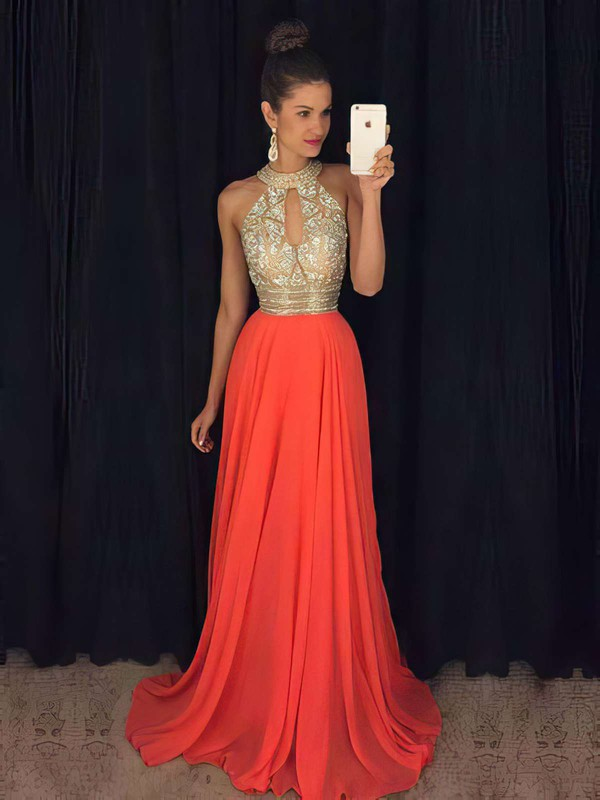 A-line High Neck Sweep Train Chiffon Tulle Prom Dresses with Beading #Favs020103750