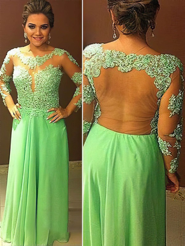 A-line Scoop Neck Floor-length Chiffon Prom Dresses with Appliques Lace #Favs020104448