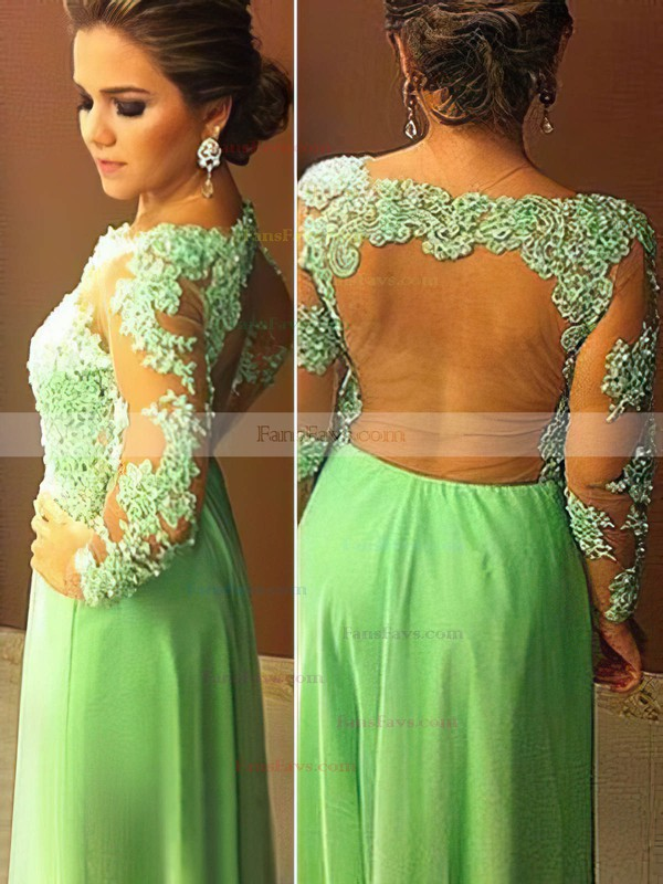 A-line Scoop Neck Chiffon Tulle Floor-length Appliques Lace Prom Dresses #Favs020104448