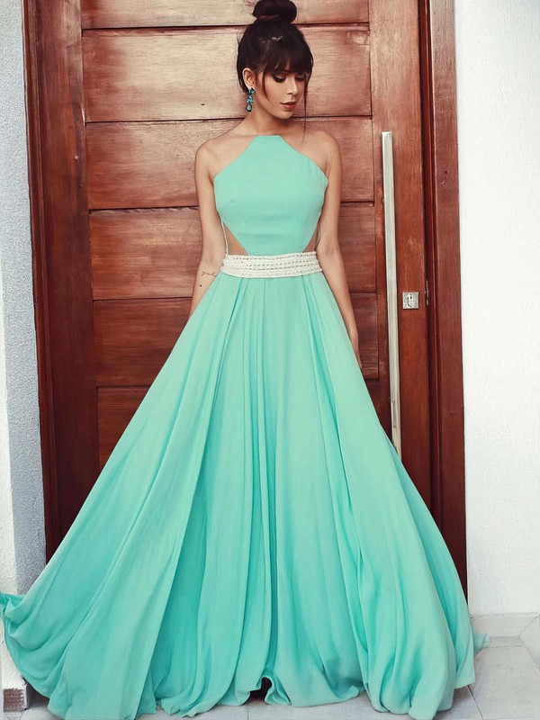 A-line Scoop Neck Floor-length Chiffon Tulle Prom Dresses with Beading #Favs020105162