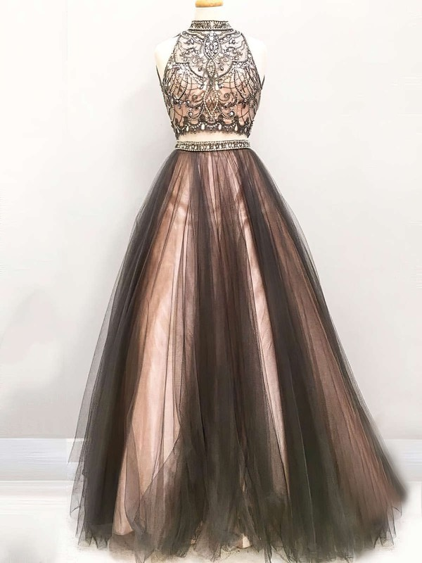 Princess High Neck Floor-length Satin Tulle Prom Dresses with Beading #Favs020103331