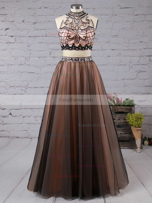 Princess High Neck Tulle Floor-length Beading Prom Dresses #Favs020103331