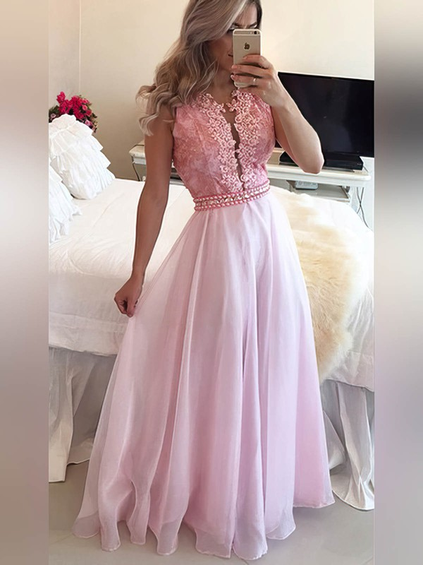 A-line Scoop Neck Floor-length Chiffon Prom Dresses with Pearl Detailing Appliques Lace #Favs020105247