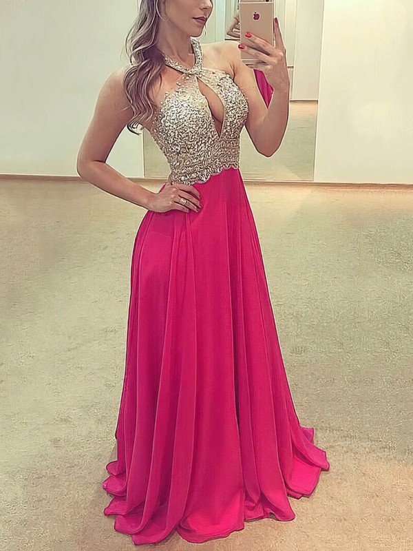 A-line Scoop Neck Chiffon Floor-length Beading Prom Dresses #Favs020105346