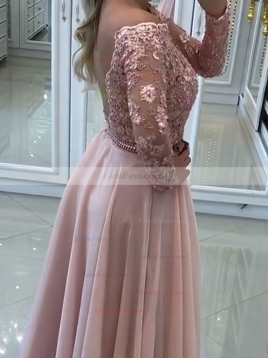 A-line Off-the-shoulder Floor-length Chiffon Prom Dresses with Appliques Lace Sashes #Favs020105588