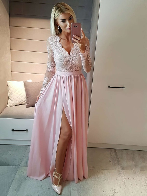 d39adf687a A-line V-neck Floor-length Chiffon Prom Dresses with Appliques Lace Split