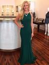 Sheath/Column Scoop Neck Sweep Train Jersey Prom Dresses #Favs020104884