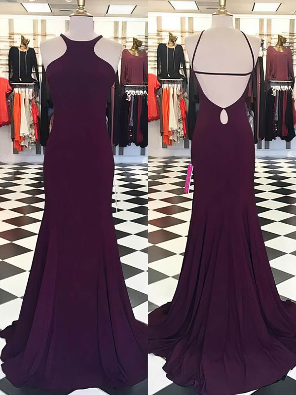 Trumpet/Mermaid Scoop Neck Jersey Sweep Train Prom Dresses #Favs020105544