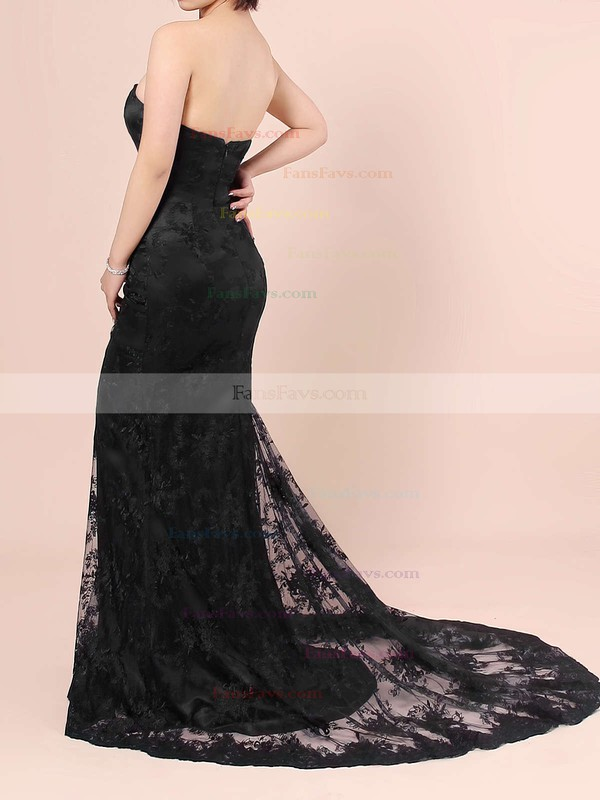 Trumpet/Mermaid Sweetheart Sweep Train Tulle Prom Dresses with Appliques Lace #Favs020103497