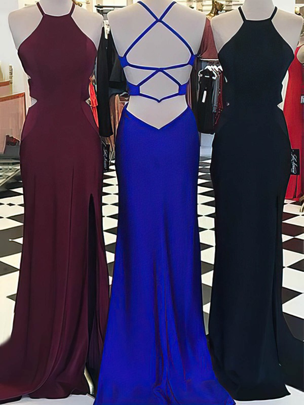Sheath/Column Scoop Neck Sweep Train Jersey Prom Dresses with Split Front #Favs020105552