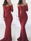 Sheath/Column Off-the-shoulder Sweep Train Jersey Prom Dresses #Favs020105596
