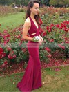 Sheath/Column Halter Sweep Train Jersey Prom Dresses #Favs020105661