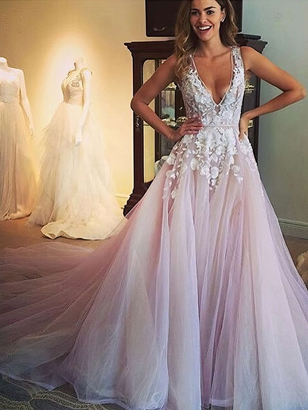 Princess V-neck Court Train Tulle Prom Dresses with Appliques Lace #Favs020103499