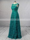 A-line Scalloped Neck Lace Floor-length Sashes / Ribbons Prom Dresses #Favs020103586