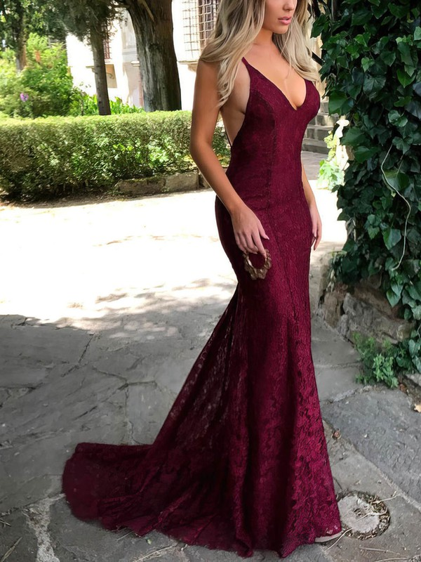 c71eb45374d Trumpet Mermaid V-neck Sweep Train Lace Prom Dresses with Lace   Favs020104811