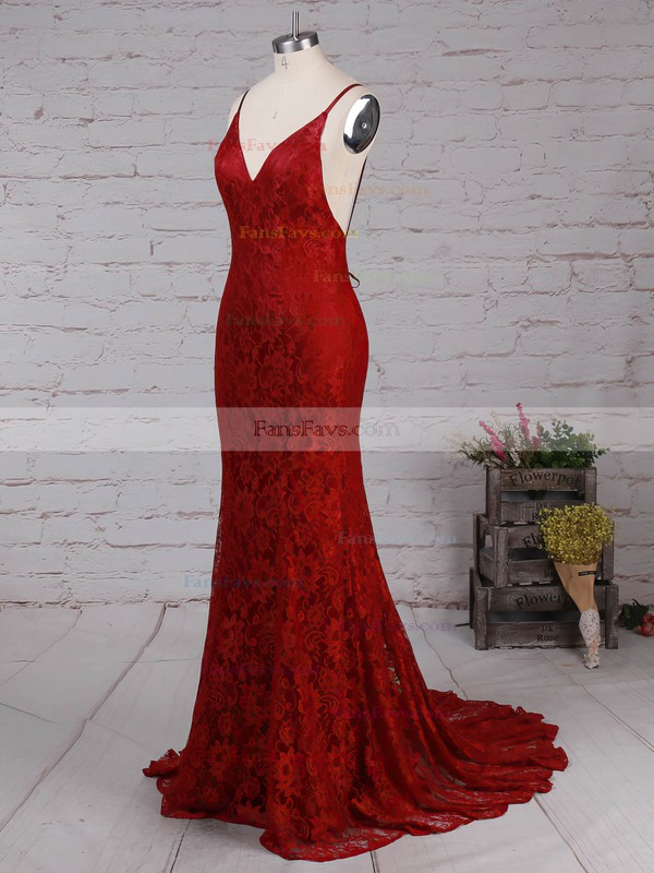 Trumpet/Mermaid V-neck Lace Sweep Train Lace Prom Dresses #Favs020104811