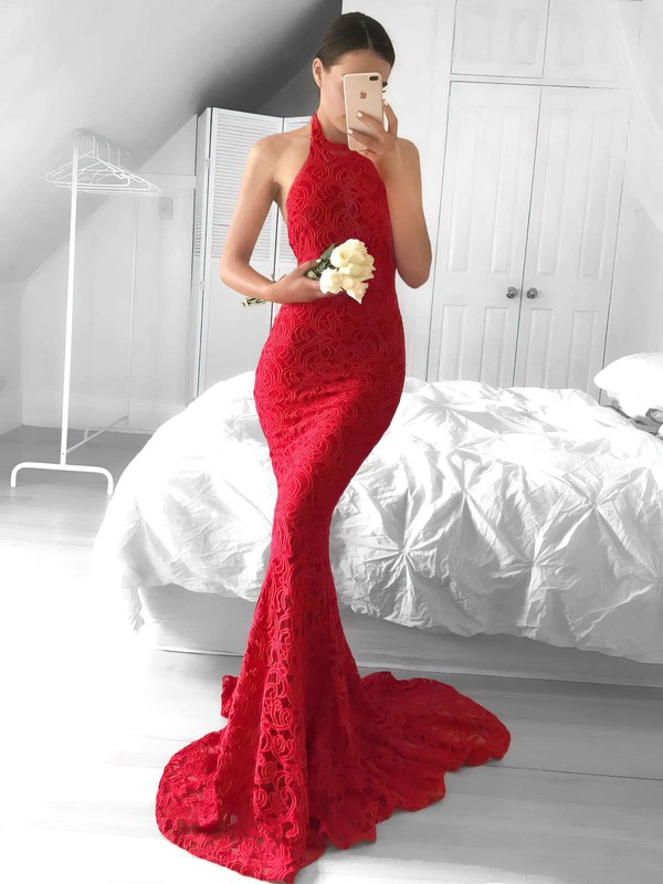 Trumpet/Mermaid Halter Lace Sweep Train Prom Dresses #Favs020104818