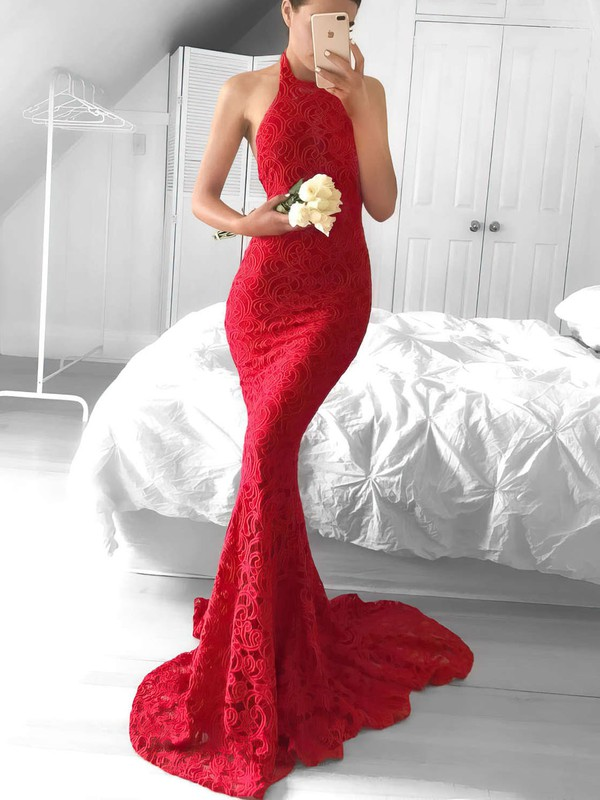 Trumpet/Mermaid Halter Sweep Train Lace Prom Dresses #Favs020104818