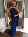 Sheath/Column Scoop Neck Lace Sweep Train Beading Prom Dresses #Favs020105784