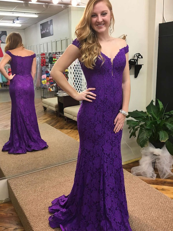 Trumpet/Mermaid Off-the-shoulder Lace Sweep Train Appliques Lace Prom Dresses #Favs020105798