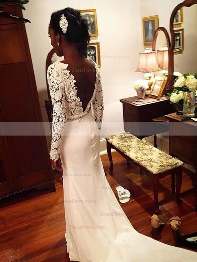 Sheath/Column Scoop Neck Lace Chiffon Sweep Train Beading Prom Dresses #Favs020105607