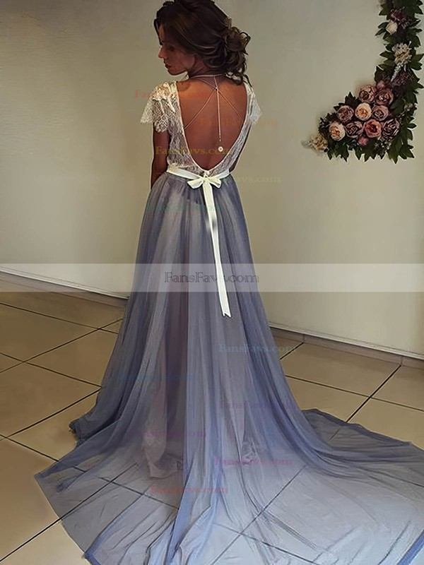 A-line Scoop Neck Sweep Train Chiffon Prom Dresses with Sashes Appliques Lace #Favs020105641