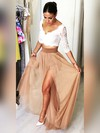 A-line V-neck Lace Chiffon Floor-length Split Front Prom Dresses #Favs020105649