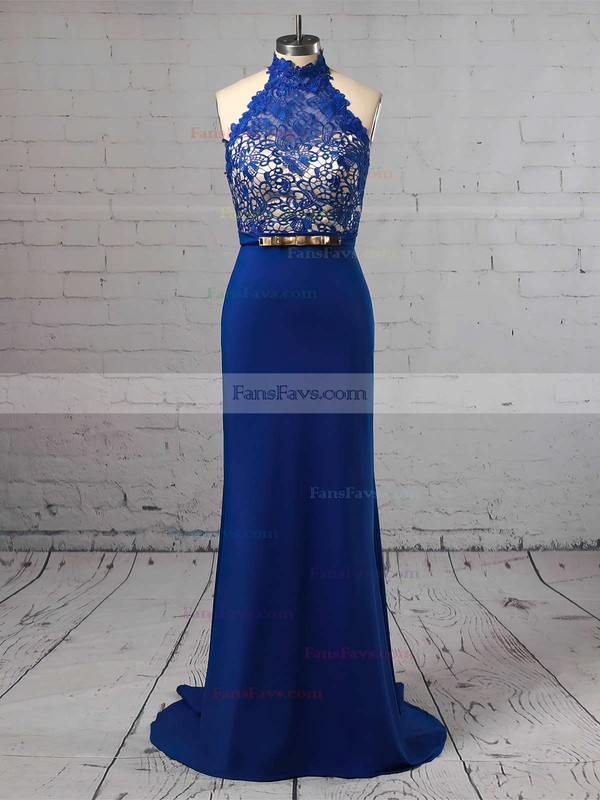 Sheath/Column Halter Jersey Sweep Train Lace Prom Dresses #Favs020104991