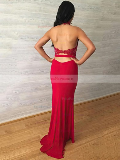 Sheath/Column Halter Sweep Train Jersey Prom Dresses with Lace Sashes #Favs020104991