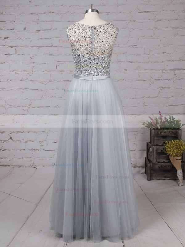 A-line Scoop Neck Floor-length Tulle Prom Dresses with Beading Sashes #Favs020103502