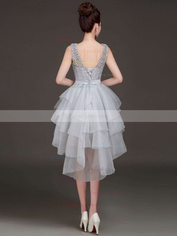 Princess Scoop Neck Lace Organza Asymmetrical Bow Prom Dresses #Favs020103155
