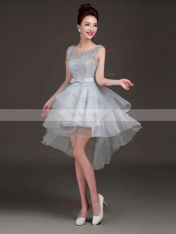 Princess Scoop Neck Asymmetrical Lace Organza Prom Dresses with Bow Sashes #Favs020103155