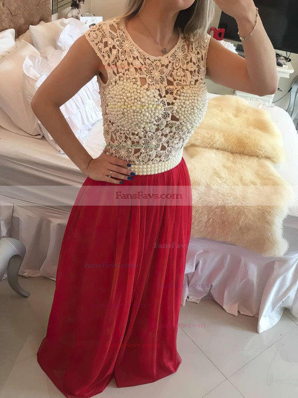 A-line Scoop Neck Lace Chiffon Floor-length Crystal Detailing Prom Dresses #Favs020102229