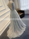 Princess Scoop Neck Lace Tulle Sweep Train Appliques Lace Prom Dresses #Favs020103620
