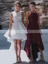 A-line Square Neckline Lace Asymmetrical Prom Dresses #Favs020105385