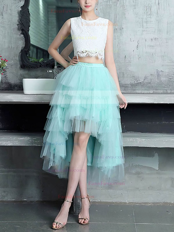 A-line Scoop Neck Asymmetrical Lace Tulle Prom Dresses #Favs020105394