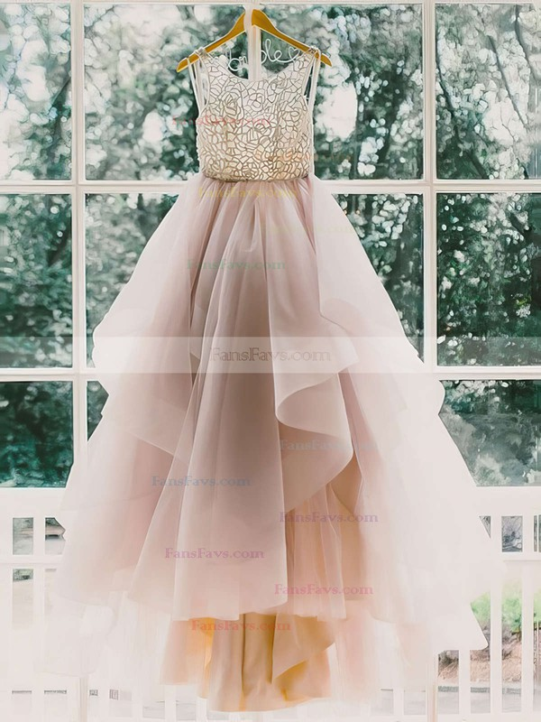 Ball Gown Scoop Neck Sweep Train Organza Prom Dresses with Beading #Favs020102394