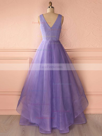 Princess V-neck Organza Floor-length Tiered Prom Dresses #Favs020102740