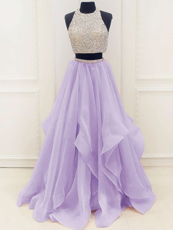 Princess Scoop Neck Floor-length Organza Prom Dresses with Beading #Favs020103326