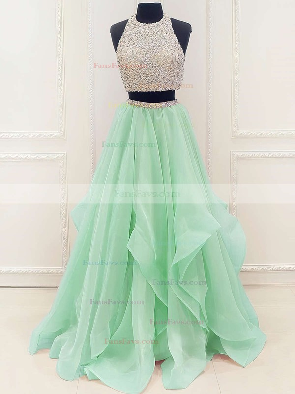 Princess Scoop Neck Organza Floor-length Beading Prom Dresses #Favs020103326