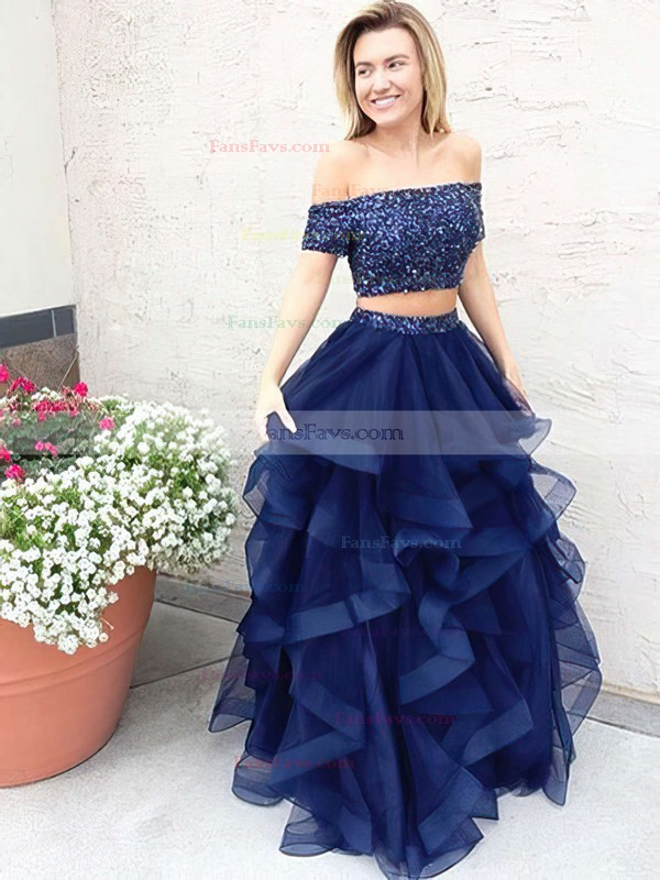 A-line Off-the-shoulder Tulle Floor-length Beading Prom Dresses #Favs020104975