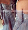 A-line Off-the-shoulder Sweep Train Tulle Prom Dresses with Appliques Lace Split Front #Favs020103507